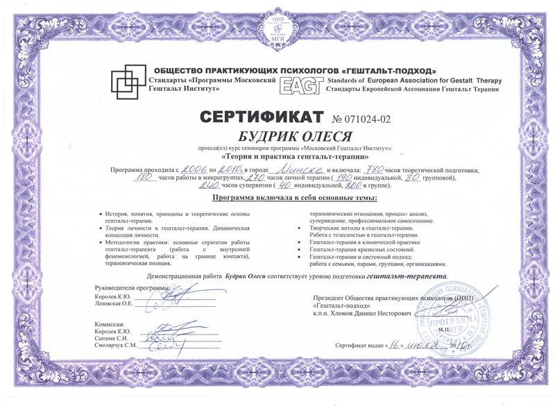 Дипломы и сертификаты психолога Олеси Будрик 2