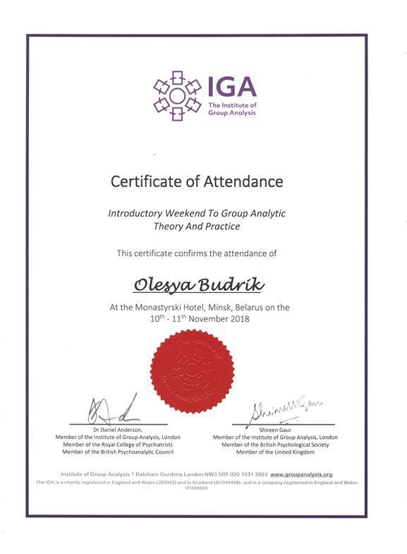 Дипломы и сертификаты психолога Олеси Будрик 7